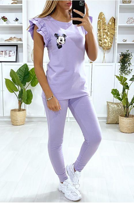 Ensemble jogging violet avec motif tête