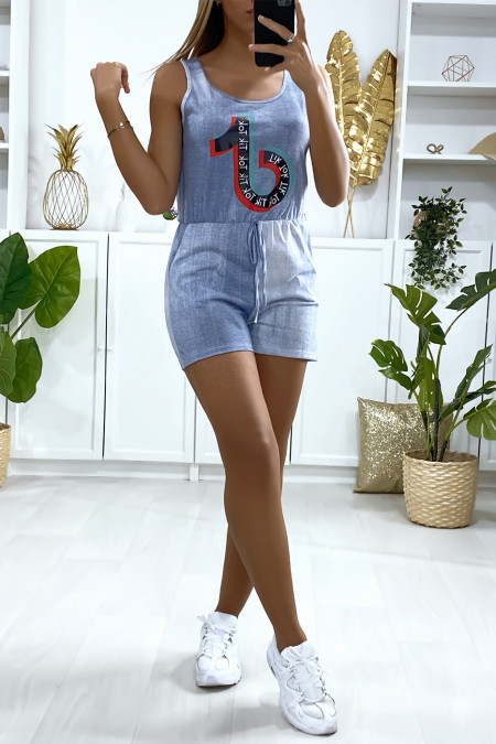 Blue jeans playsuit with pockets and TIKTOK writing