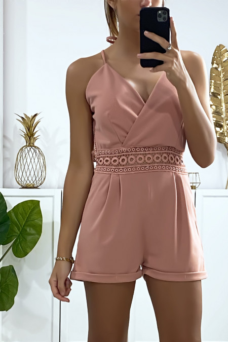 Pink playsuit crossed at the bust with lace at the waist