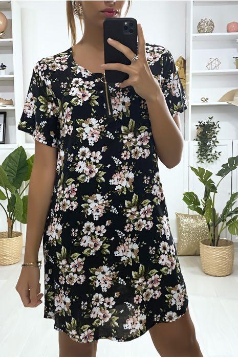 Robe tunique noir motif fleuris avec zip au col