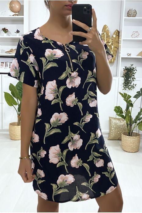 Robe tunique marine motif grosse fleures avec zip au col
