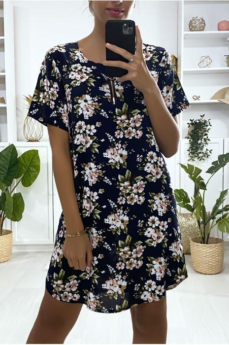 Robe tunique marine motif petite fleures avec zip au col