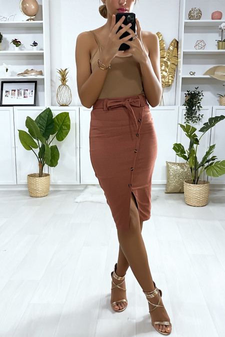 Camel stretch skirt with crossed buttons at the front