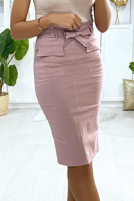 Roze stretch rok met Sahara zakken en riem