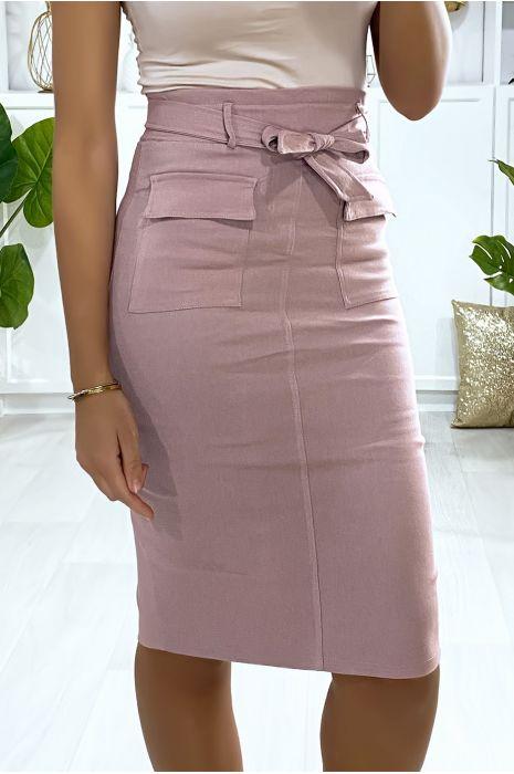 Jupe rose stretch avec poches saharienne et ceinture
