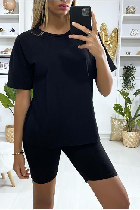 Ensemble short et t-shirt over size noir très fashion