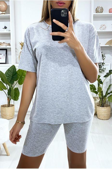 Ensemble short et t-shirt over size gris très fashion