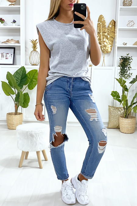 Gray oversized sleeveless t-shirt with padded shoulders