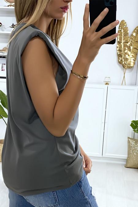Khaki oversized sleeveless t-shirt with padded shoulders
