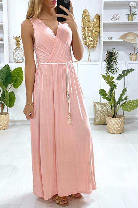 Lange roze gekruiste jurk met koordceintuur