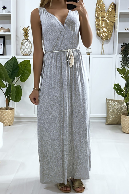 Long crossover dress in gray with cord belt