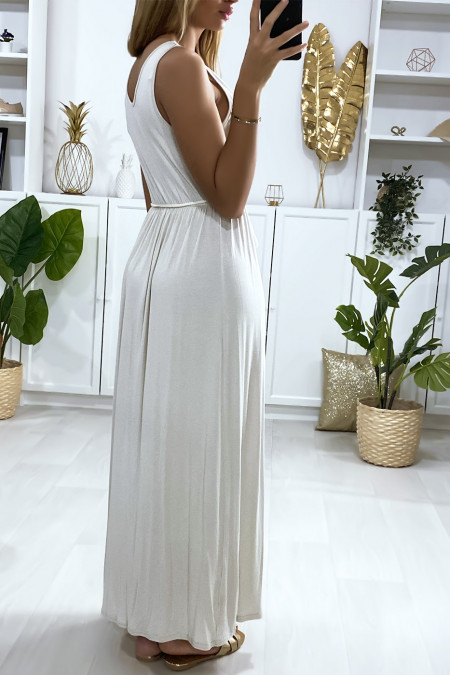 Long crossover dress in beige with cord belt