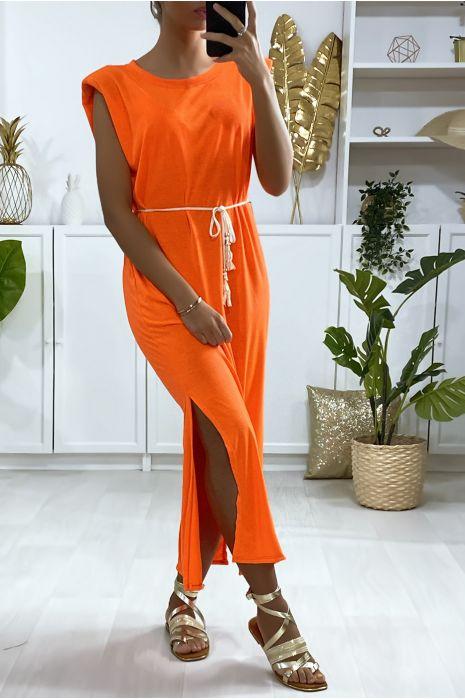 Robe sans manche over size orange fluo avec épaules rembourrés