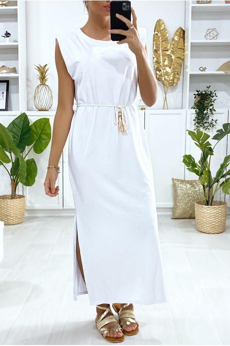 Witte mouwloze oversized jurk met gewatteerde schouders