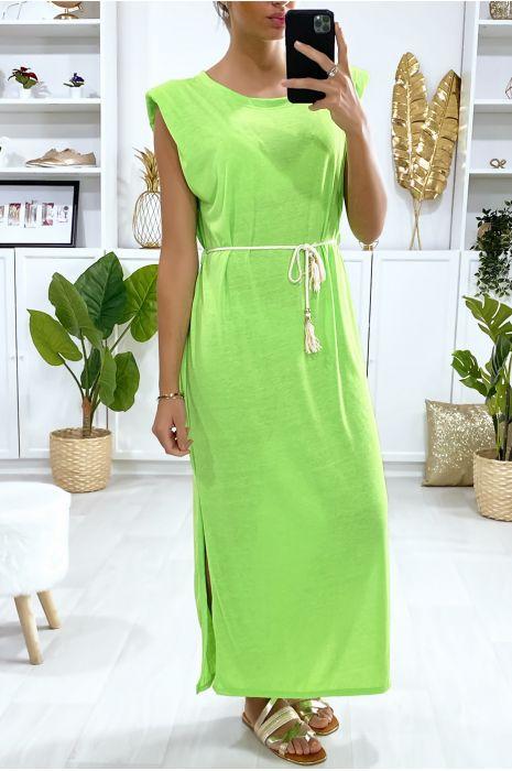 Neongroene oversized mouwloze jurk met gewatteerde schouders