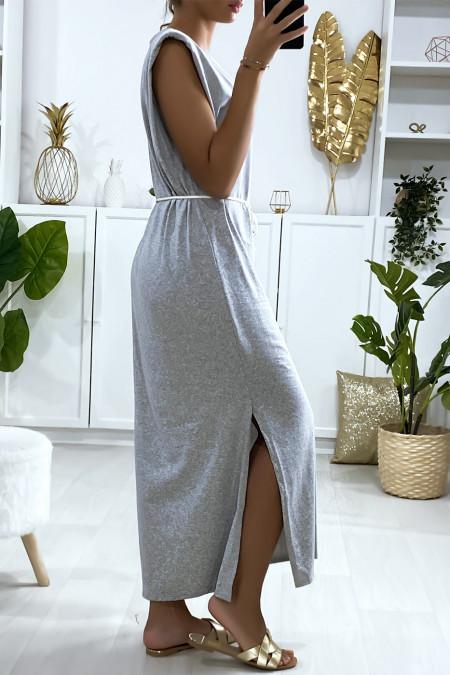 Grijze oversized mouwloze jurk met gewatteerde schouders
