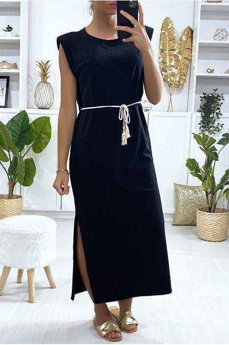 Robe sans manche over size noir avec épaules rembourrés