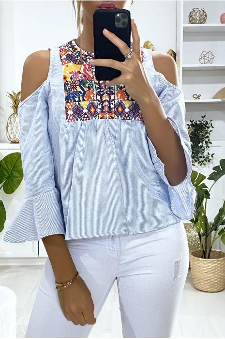 Blauwe off-the-shoulder blouse met borduursel op de buste