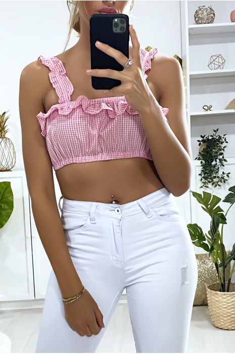 Crop top rose à carreaux avec froufrou