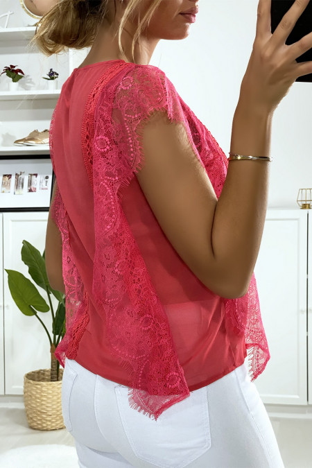 Fuchsia lace blouse with flounce
