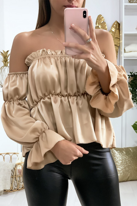 Beige satin bustier with separate sleeves