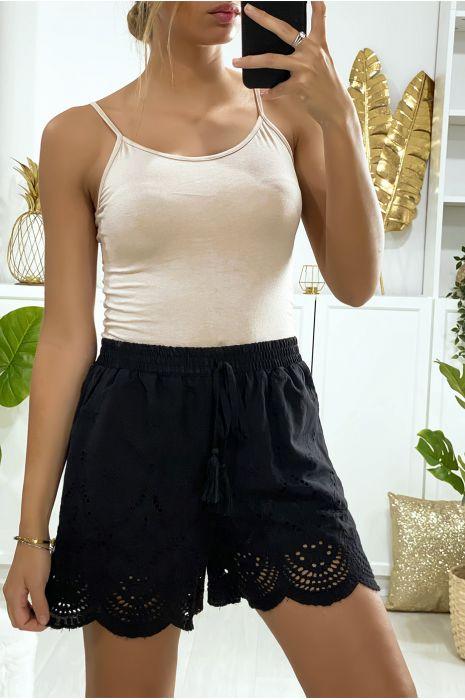 Short en coton noir avec broderie et poches
