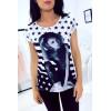 Tee-shirt blanc imprimé et strass. Femme MC 1499