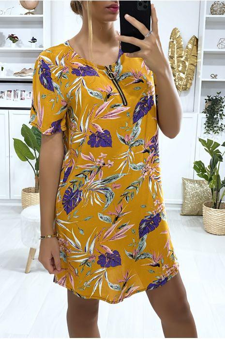 Robe tunique moutarde motif avec motif feuille et fermeture au col