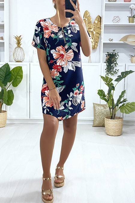 Navy and fuchsia pattern tunic dress with flower pattern and collar closure