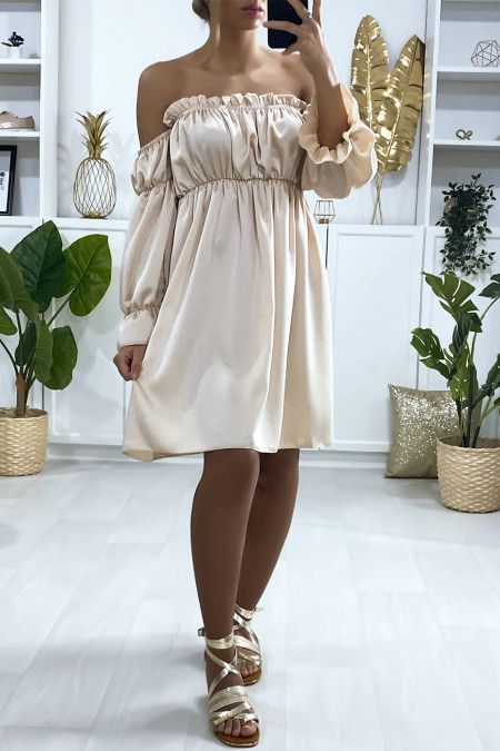 Beige satin dress with separate sleeves