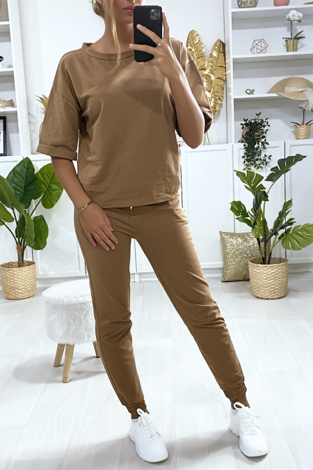 Ensemble jogging camel avec sweat manches revers