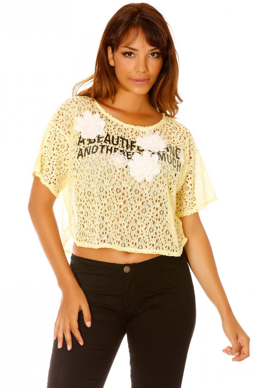 Debardeur fluide empiècement dentelle dos et devant. Femme MC 8071Tee-shirt en dentelle noir avec écriture et fleurs. Mode F2650