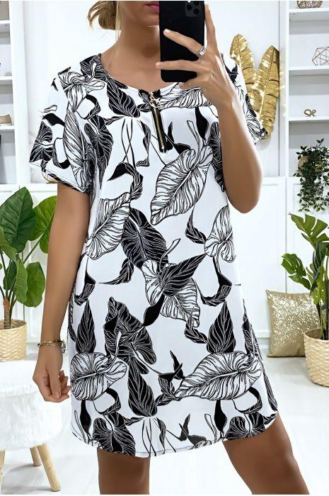 Robe tunique blanche motif feuilles avec zip au col