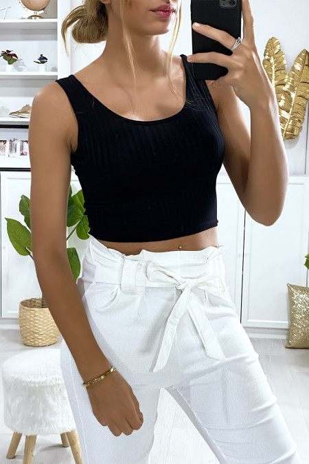 Black ribbed knit crop top