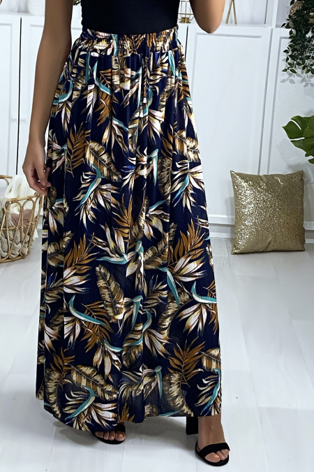Long skirt with navy and camel leaf pattern