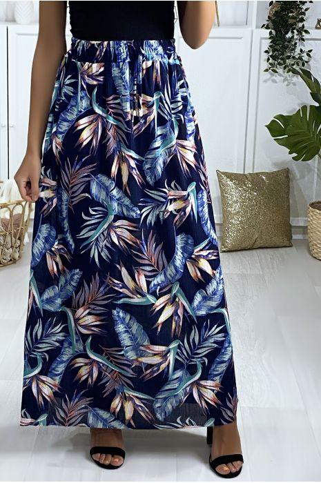 Longue jupe motif feuille marine et turquoise