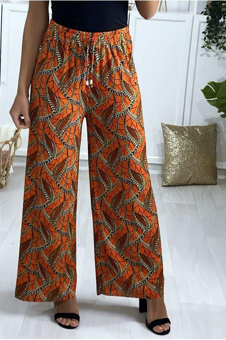 Pantalon palazzo en orange motif feuille
