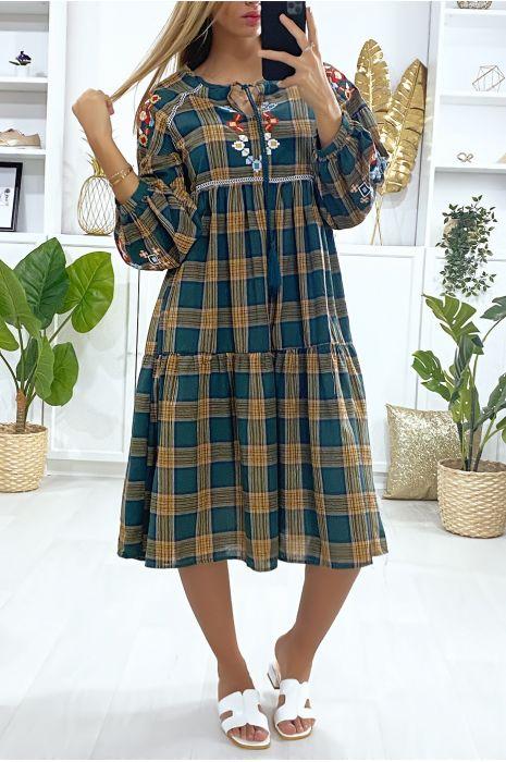 Groene tartan jurk met borduursel