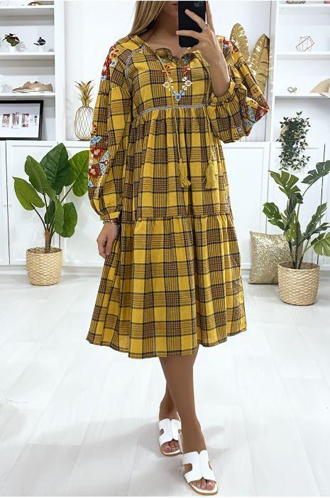 Mosterdgele tartan jurk met borduursel