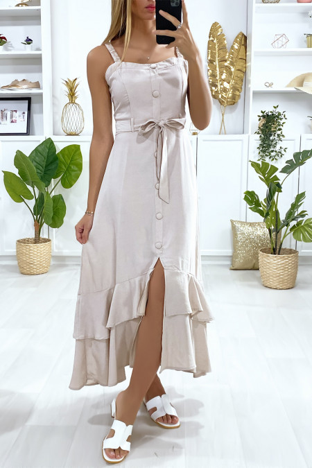 Long beige dress with buttoned strap with belt and frills