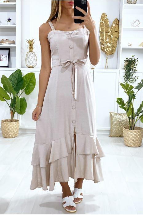 Lange beige jurk met knoopband met riem en ruches