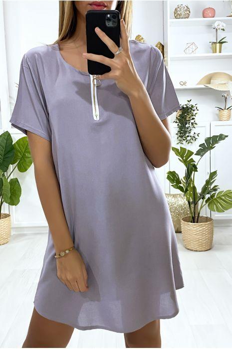 Robe tunique grise avec zip au col