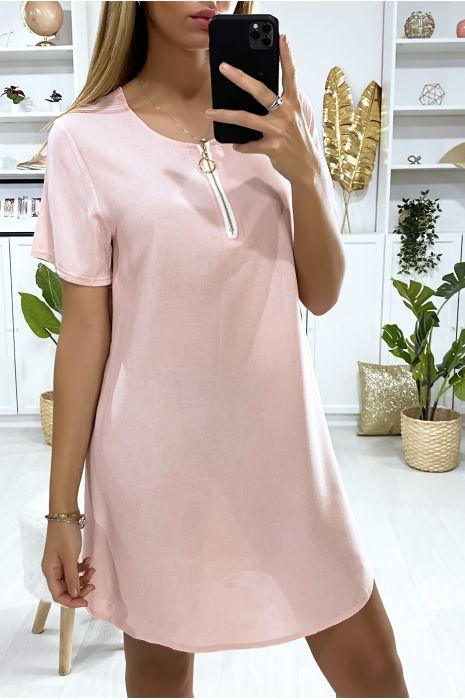 Robe tunique rose avec zip au col