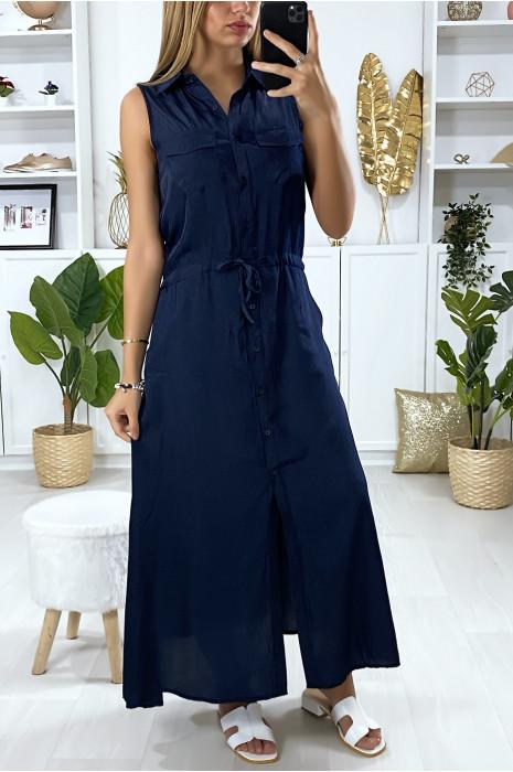 Lange jurk met knopen in marineblauw met overhemdkraag en Sahara-zakken