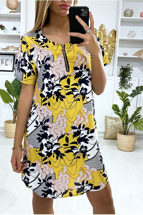 Robe tunique moutarde à motif fleurs avec zip au col