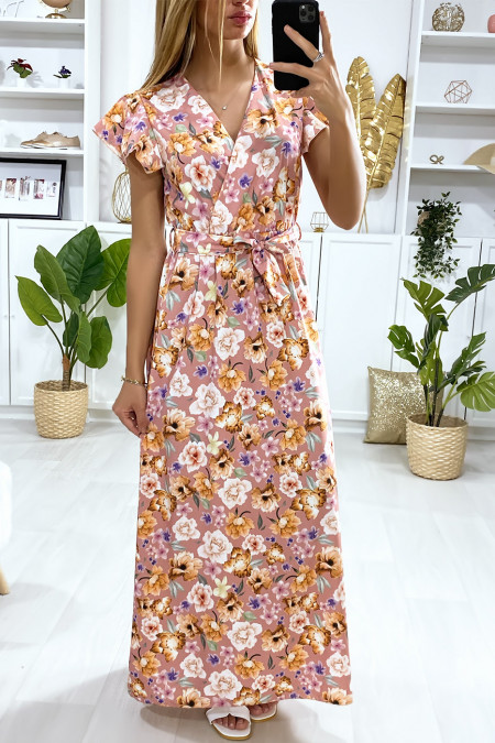 Lange jurk met bloemenmotief in nude, gekruist bij de buste met riem