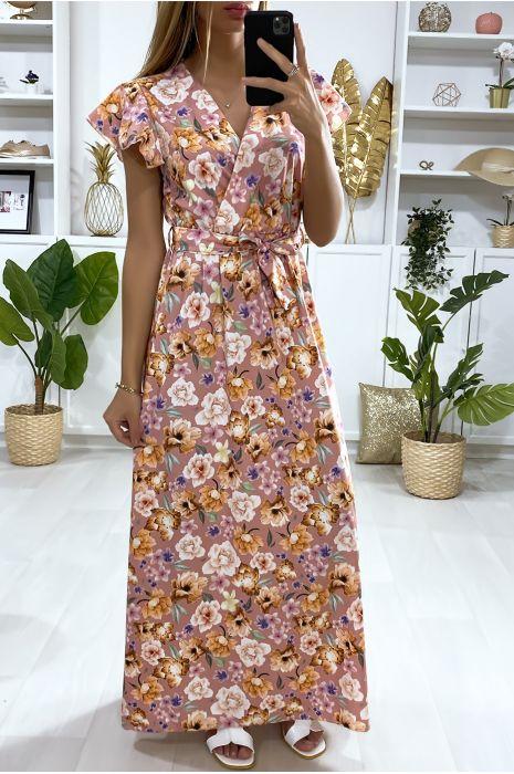 Longue robe nude motif fleuris croisé au buste avec ceinture