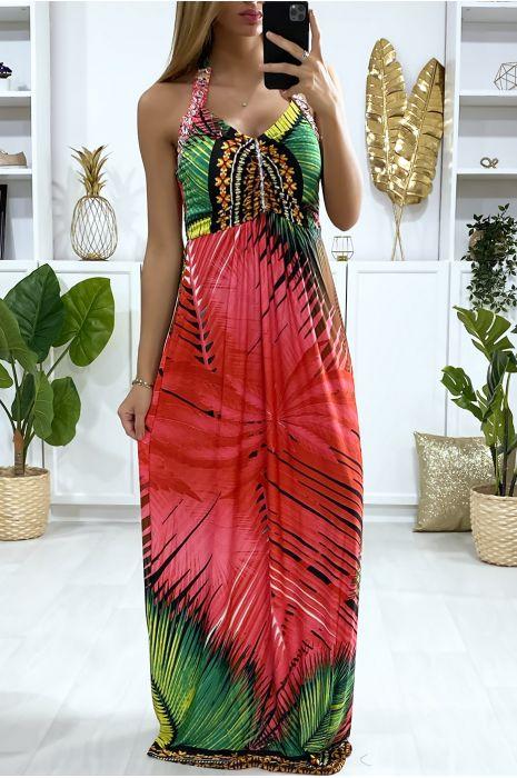 Lange jurk in fuchsia bloemmotief met strass steentjes op de bandjes en aan de voorkant