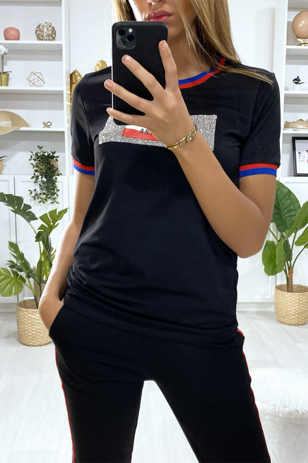 Black jogging set with bands and rhinestones