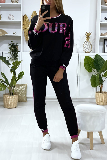 Black jogging set with FAVORITE writing in sequins and fuchsia rhinestones